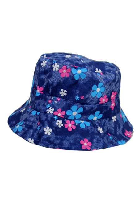 Floral Jean Style Softness Fabric Kids Bucket Hat