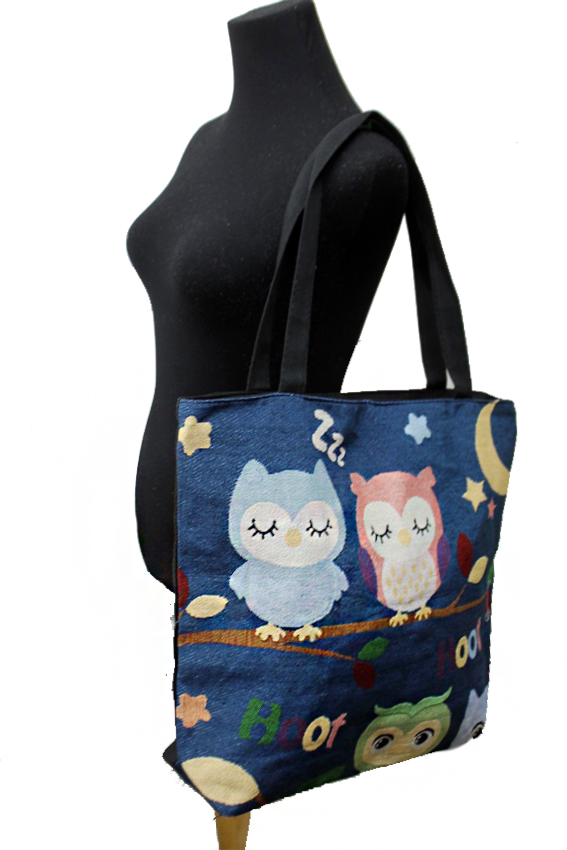 OWL Design Woven Canvas Rope Tote Bag