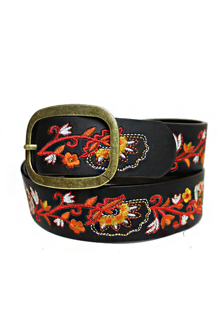 Earthy Brassed Golden Buckle Leather Boho Belt With Colorful Floral Embroidery Belt