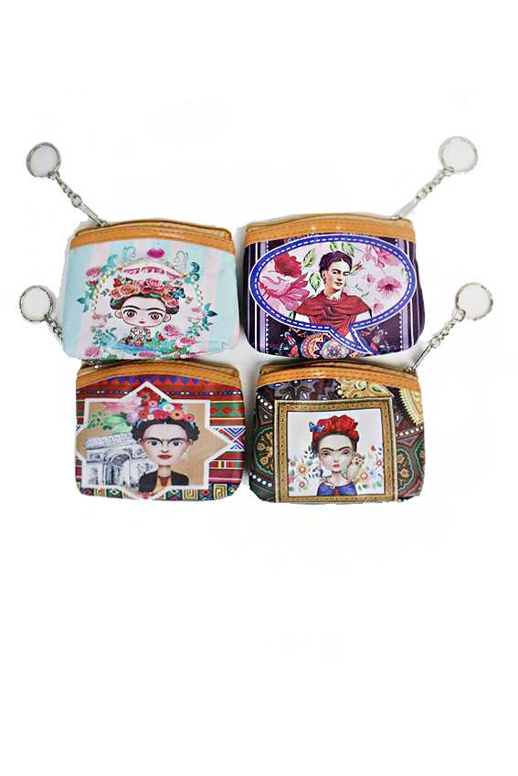 Frida Khalo Floral Novelty Collection Zip Up Coin Bags