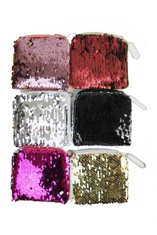 Double Sided Colored Sequin Petite Coin Bag