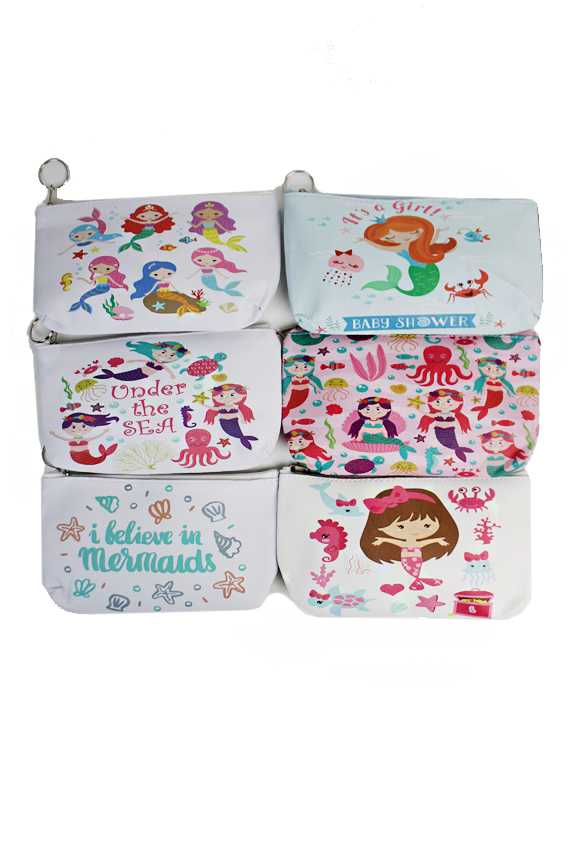 Flat Pouch Little Mermaid Collection Zip Up Coin Purse Bag