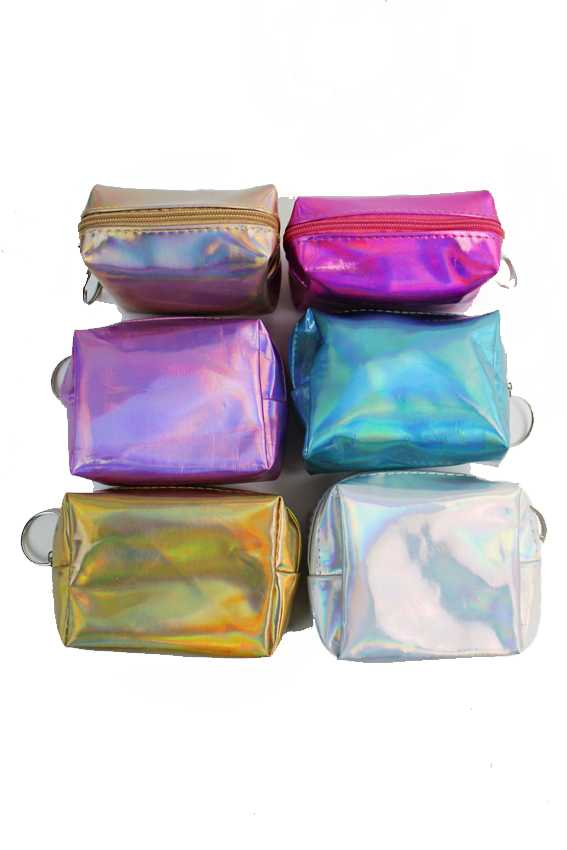 Mini Cube Reflective Metallic Hologram Zip Up Coin Bags