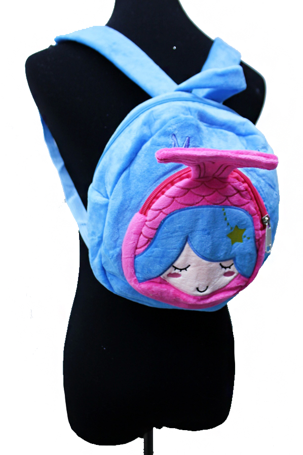Animated Cartoon Mermaid Plush Backpack
