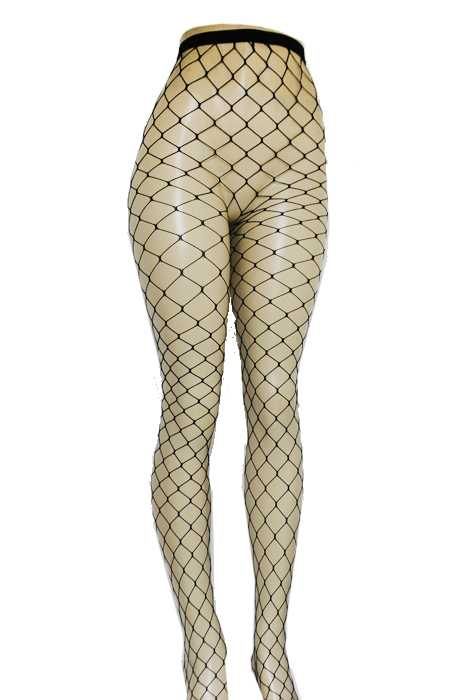 Wide French Cut Fishnet High Rise Panty Hoes