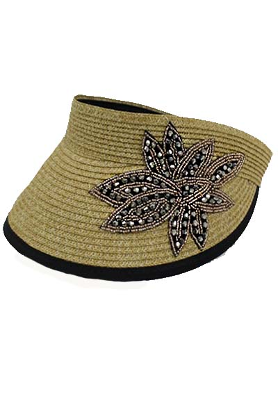 Black AB Stone Crystal Patch Flower on Straw Visor.