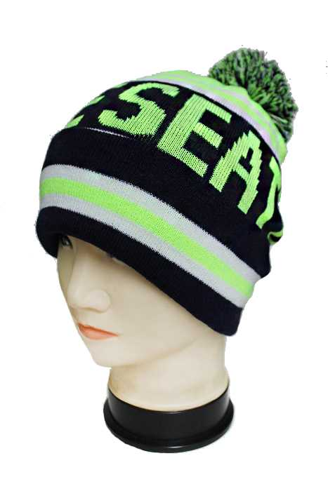 Seattle Knitted Striped Design with Pom Pom Thick Long Beanies