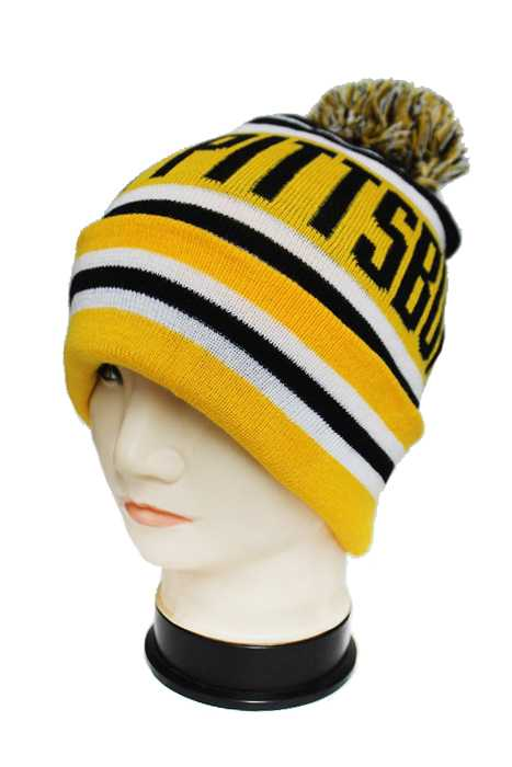City Name Team Color Knitted Striped Design with Pom Pom Thick Long Beanies