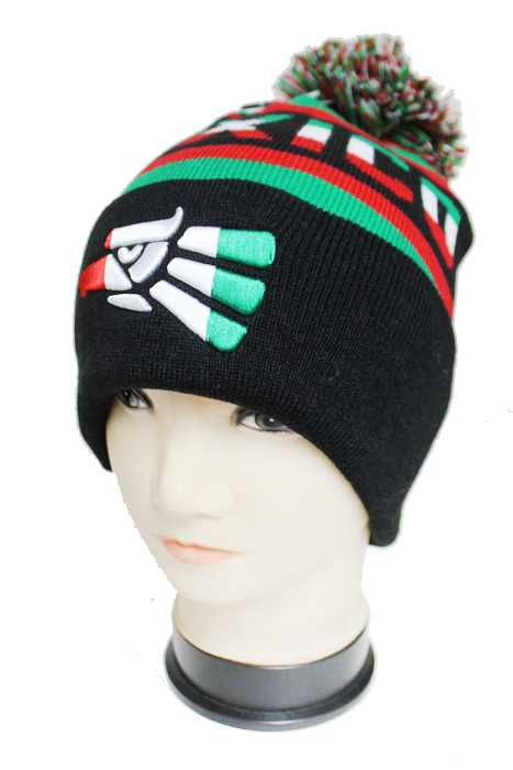 Puerto Rico Embroidery and Knitted Striped Design with Pom Pom Thick Long Beanies