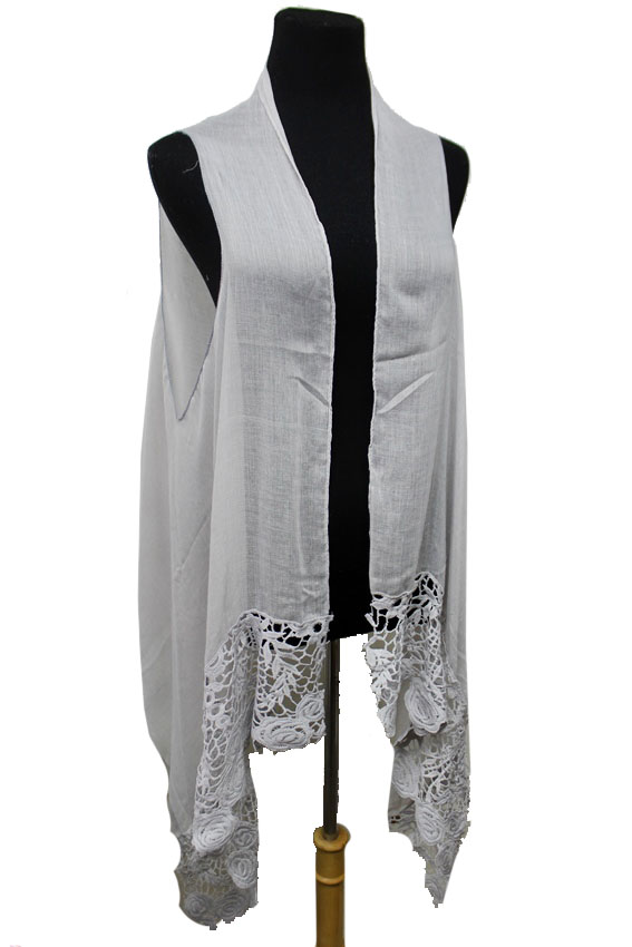 Solid Fine Rose Flower Pattern Lace Trimmed Softness Semi Sheer Sleeveless Cardigan Style and Scarf