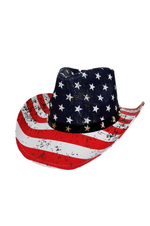 American justice natural flag cowboy hat for American flag fish hat