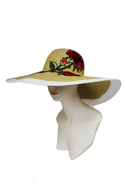 Wide Brimmed Original Classy Black Striped floppy Sun Hat with Big Rose Embroidered Patchwork