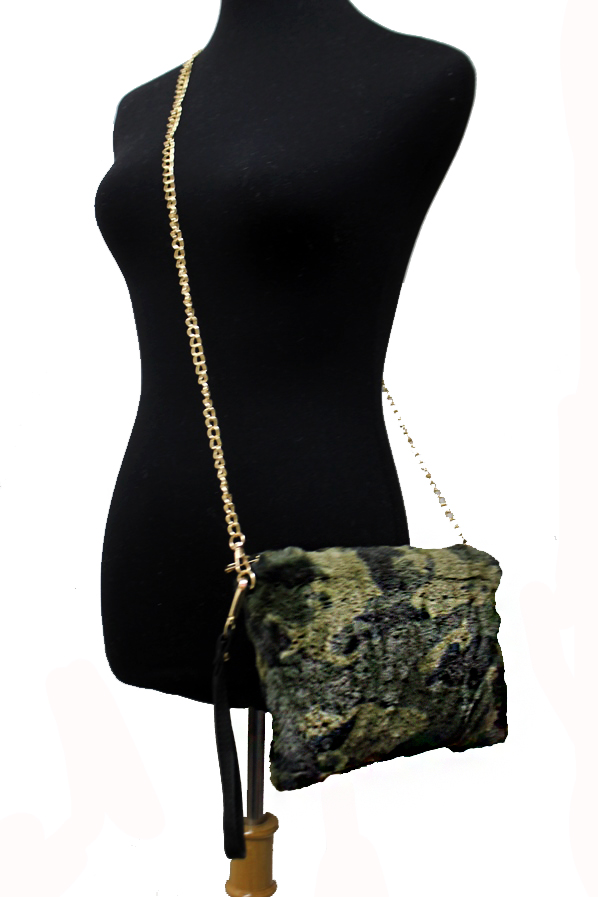 Camouflage Faux Fur Shoulder Bag Purse