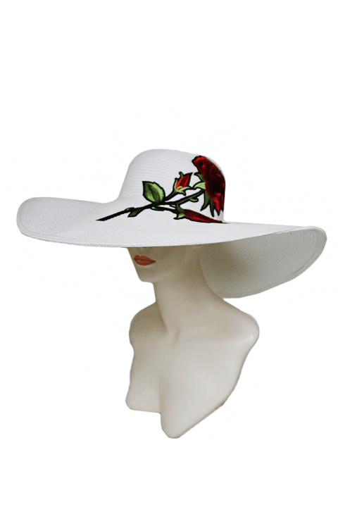 ce6976df20a Enchanted Red Rose Patch Wide Brimmed Plain Classy Floppy Hat