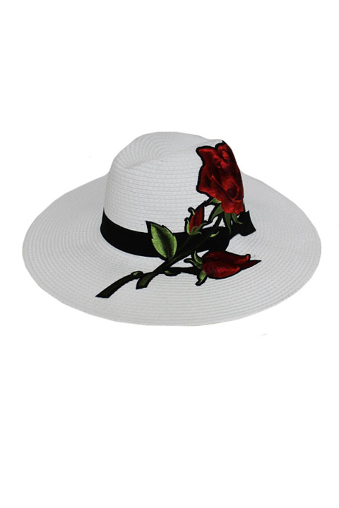 Wide Brimmed Original Classy Panama Hat Big Rose Embroidered Patchwork