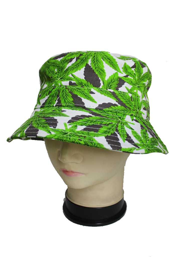 Marijuana All Over Tri colored Canvas Bucket Hats