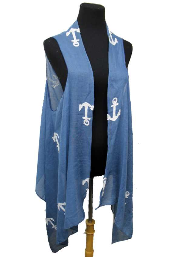 Von Voyage Signature Anchor Embroidered Soft Blended Custom Vest Cover Up