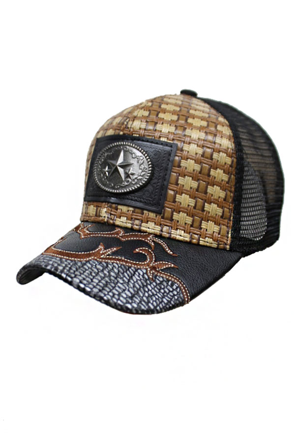 Lone Star Gun Metal Plaque Rodeo Straw Baseball Cap