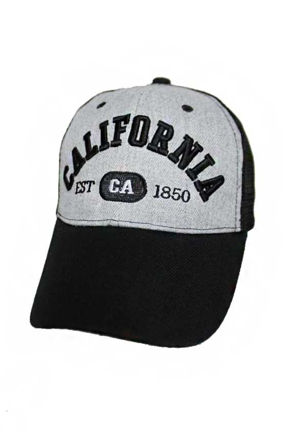California Embroidered On Cotton Grey Mesh Caps