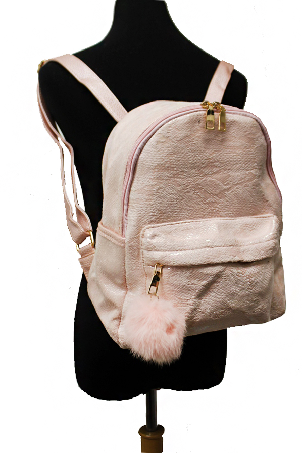 Mermaid Tail Patterned Short Faux Fur Finished Backpack with Pom Pom