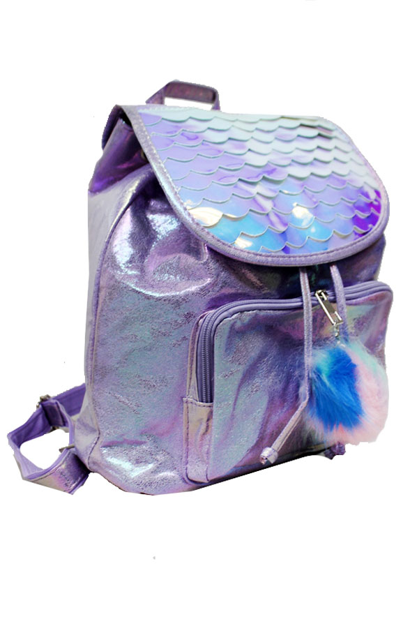 Mermaid Pattern Pearl Resembling Glittered Iridescent Pouch Styled  with Pom Pom Decoration Back pac