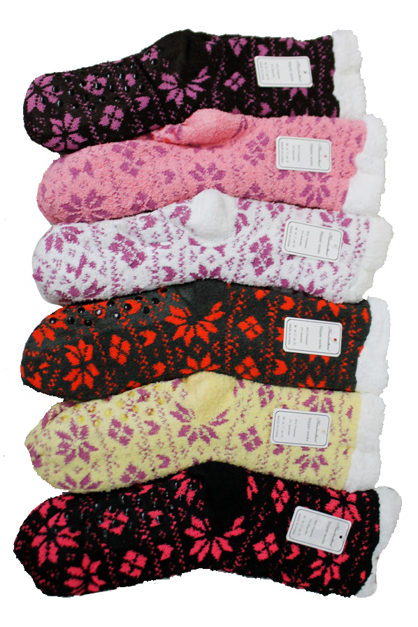 Christmas Snowflake Printed Fleece Plush Non Slip Socks