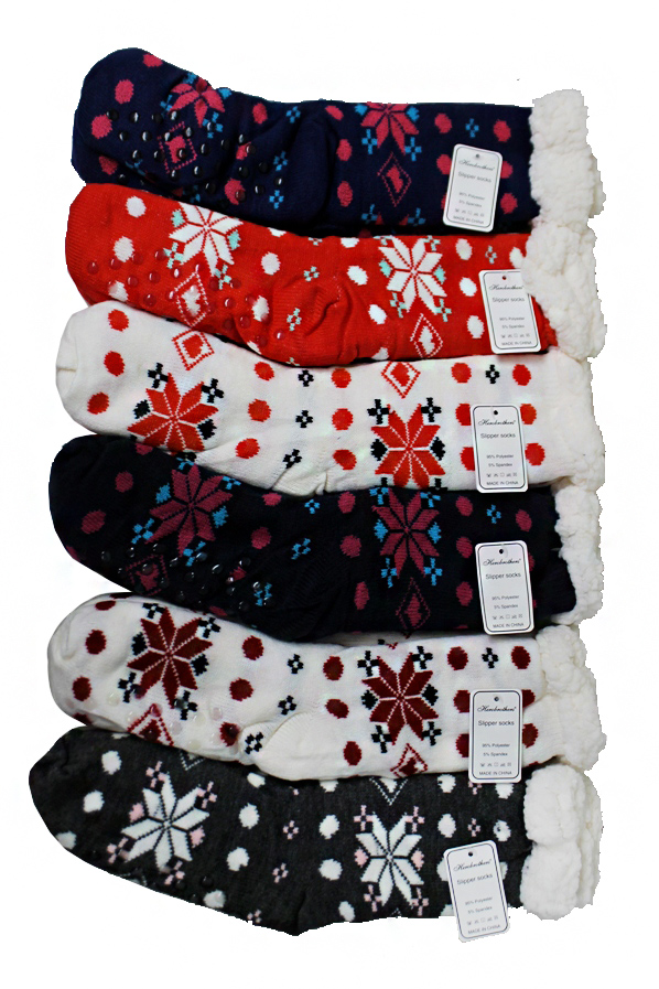 Polka Dot and Christmas Snowflake Printed Fleece Plush Non Slip Socks