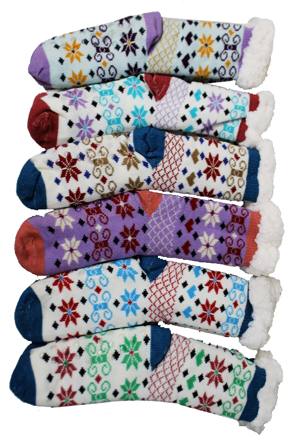 Hearts and Christmas Snowflake Printed Fleece Plush Non Slip Socks