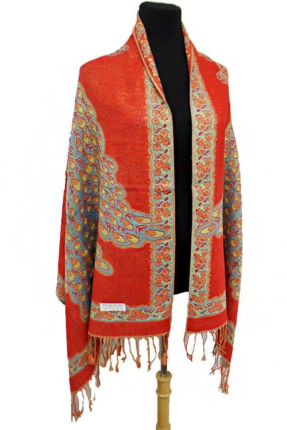 Peacock and Rose Flower pattern Gold Metallic Thread Silk Thick Pashimina Shawls Scarf