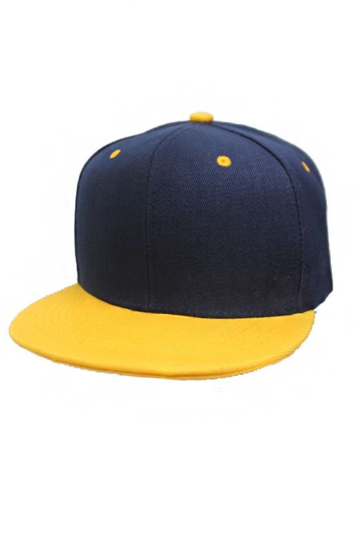 Two Tone Six Panel Baseball Styled and Flat Billed Plain Snap Back