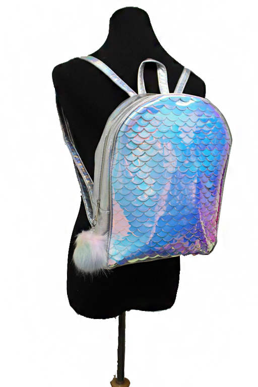 Mermaid Scales Holographic Full Size Backpack