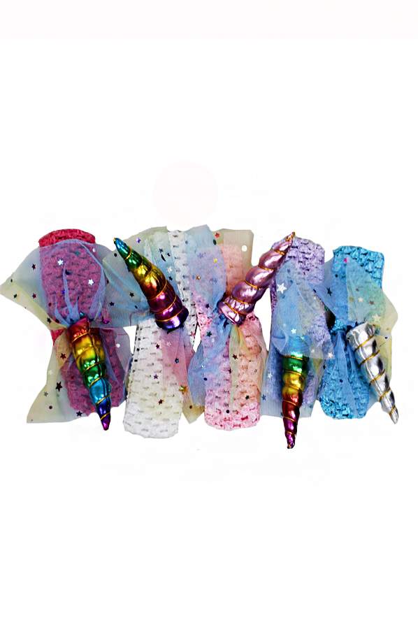 Fashionable Styled Laced Unicorn Horn Stretchable Head Bands