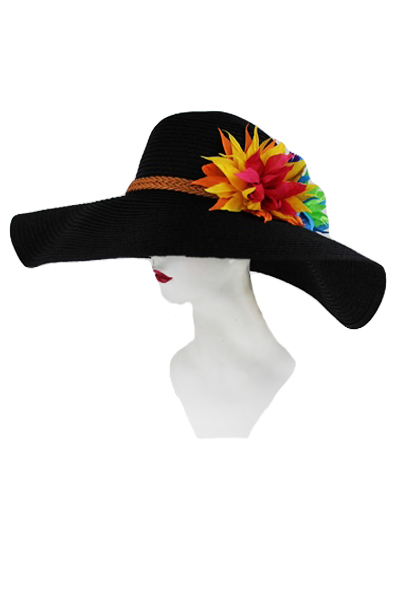 Sunny Hat with Multicolor Flower Bouquet.