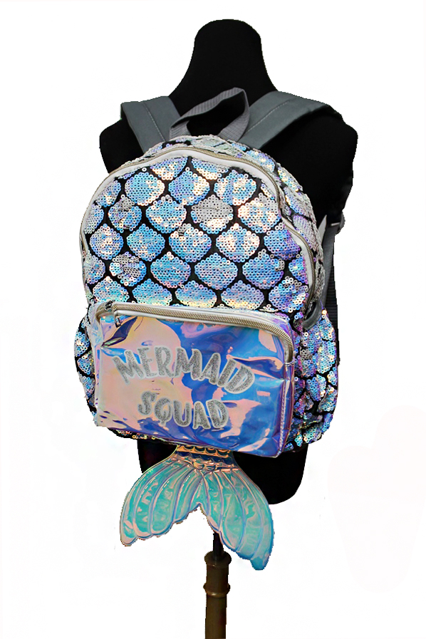 Mermaid Squad Glitter Labeled and Mermaid Tailed Sequins Backpack