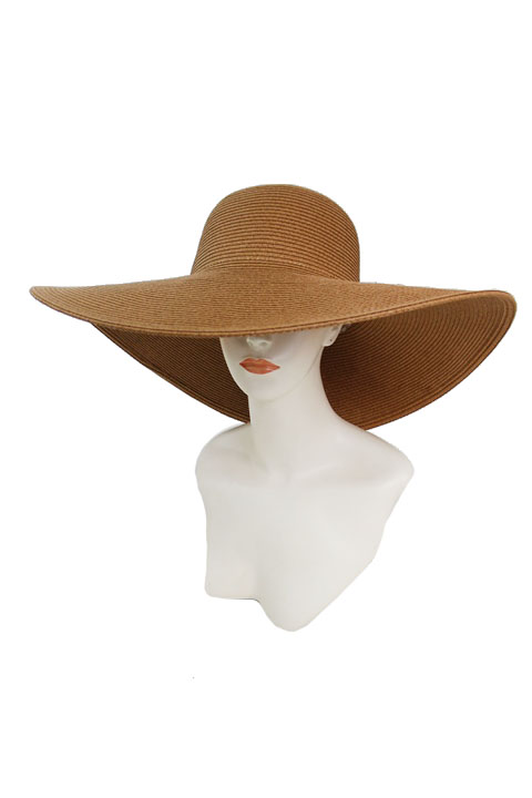 Plain Big Brim Toyo Straw Floppy Sun Hat