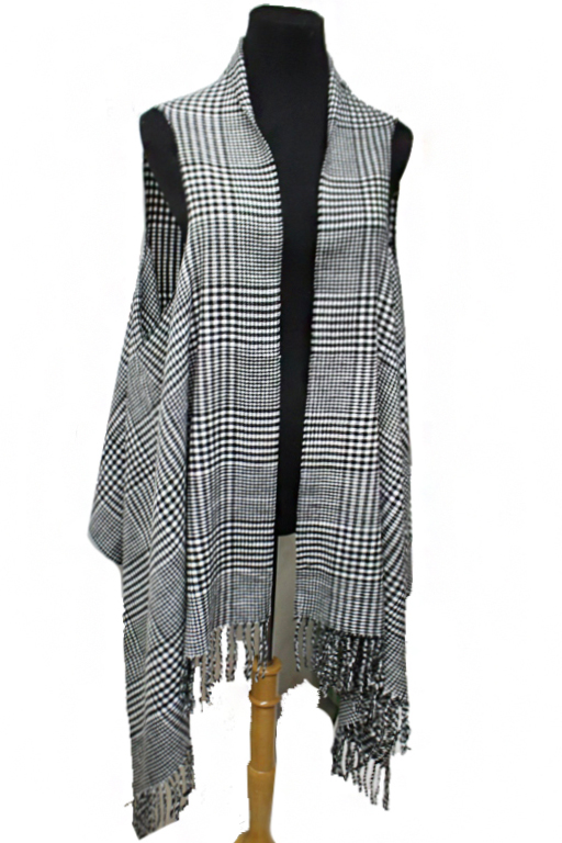 Versatile Cashmere Felt Shawl And Vest Mini Hounds tooth Classic Plaid Print