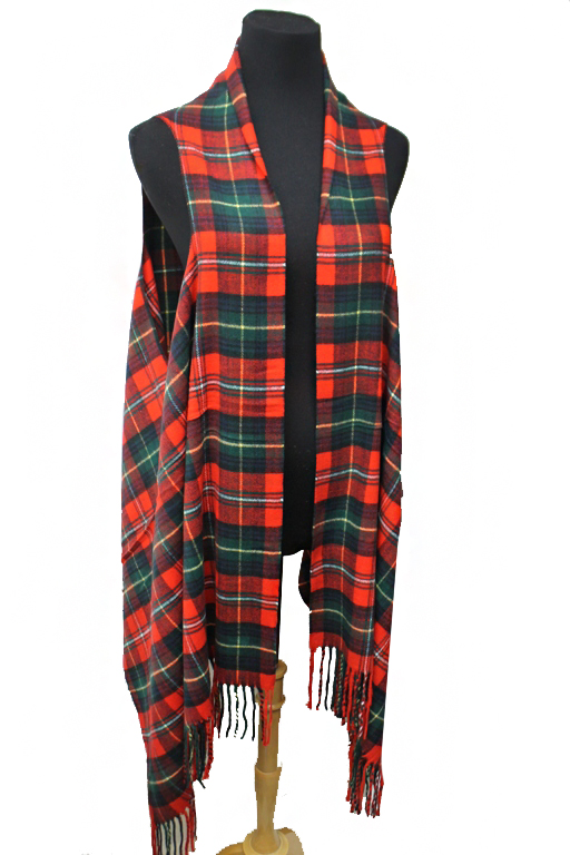 Classic Academic Plaid Multi Use Shawl And Vest