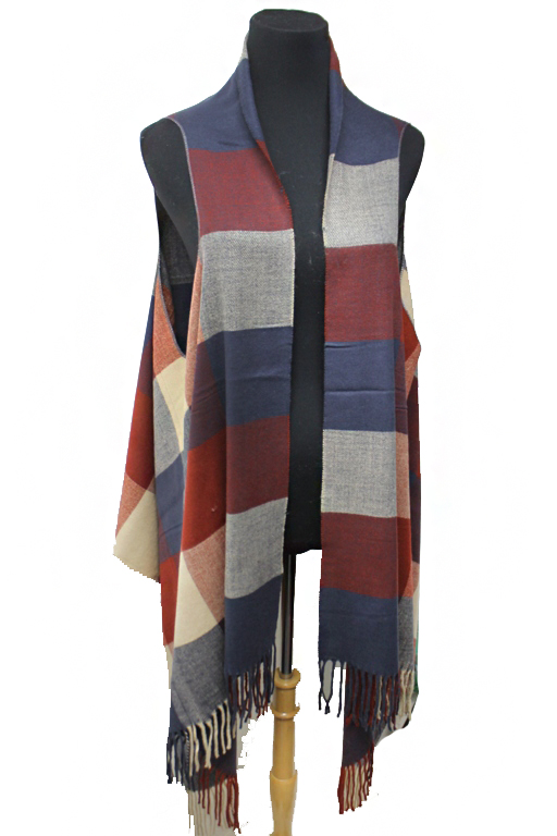 Abstract Color Block Plaid Versatile Shawl And Vest