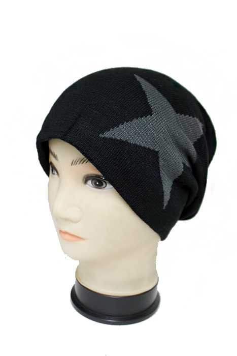 Brush Fur Lined Slouchy Star Printed Unisex Beanie