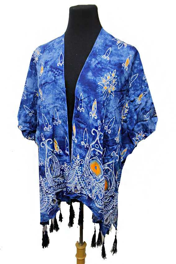 Washed Tie dye with Mandala Succubus Printed Kimono Cardigan Cover Up