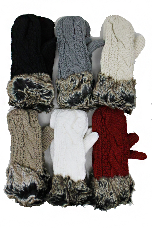 Mittens with Hanging String Faux Fur Cuffed Trim