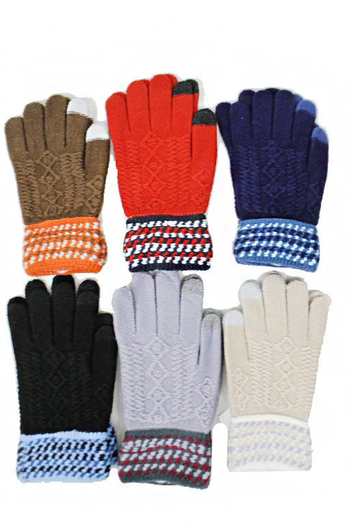 Ribbed Abstract Knit Pattern With Smart Touch Finger Tip gloves