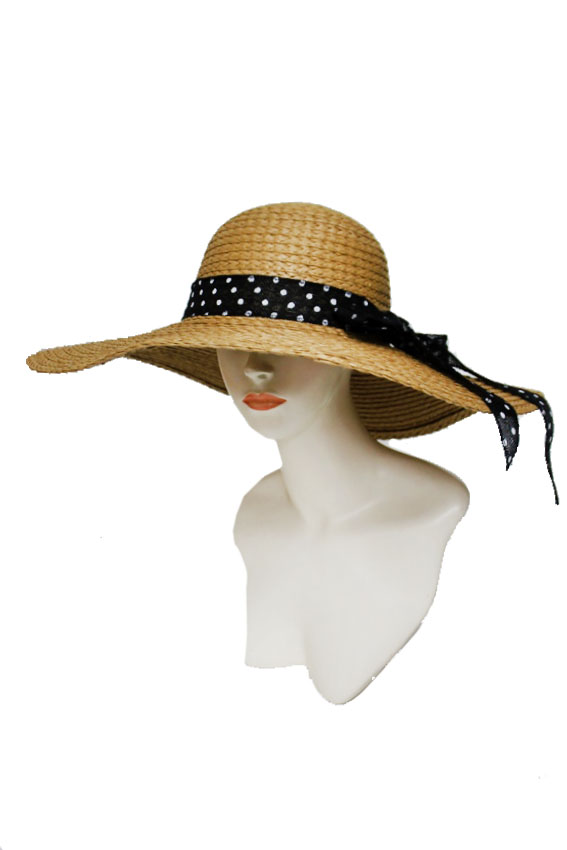 Hand-Made Real Straw Design with Polka Dot Band Big Brim Floppy Sun Hat