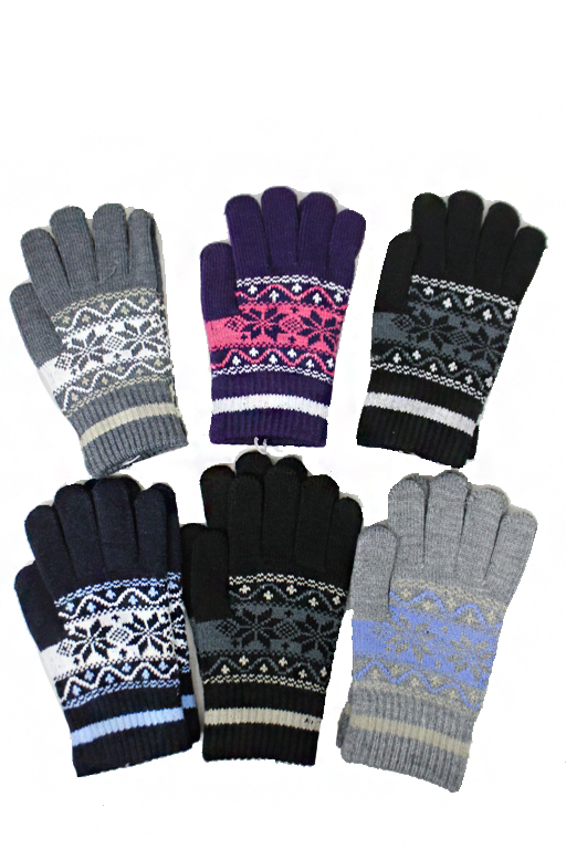 Multi Colored Festive Snowflake Seasonal Gloves