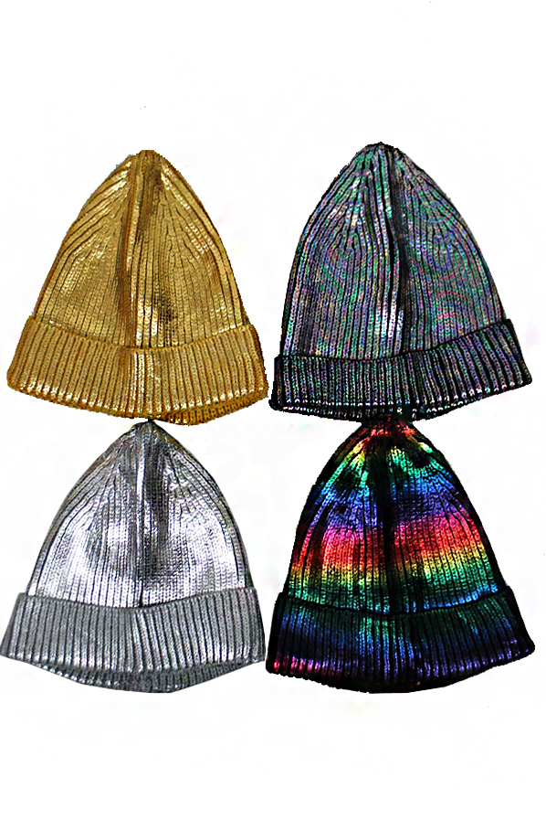Metallic Glossed Thick Knit Long Beanies