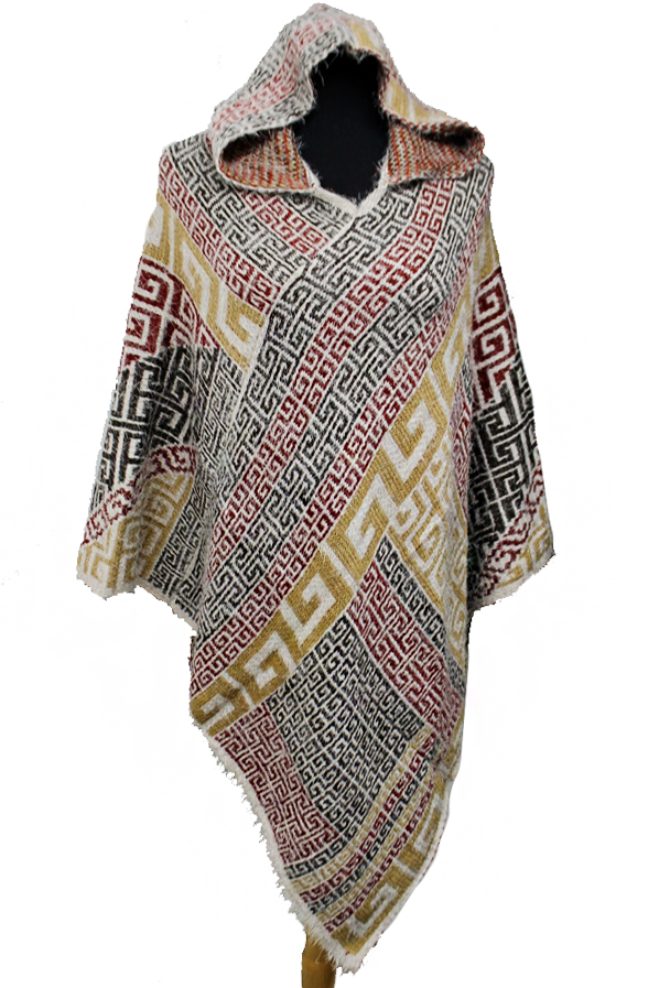 Abstract Tribal Printed Angora Felt Hooded Poncho