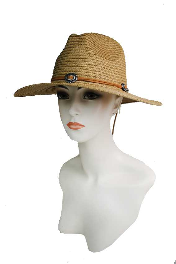 Silver Conch brooch with Suede Rope Design Toyo Straw Panama Hat
