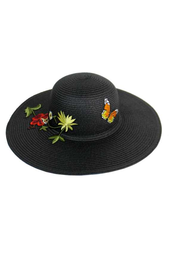 Butterfly and Blossomed orchid With Mini Daisy Embroidered Patch  Floppy Sun Hat
