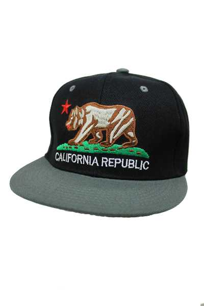California Republic Bear Design Snap Back