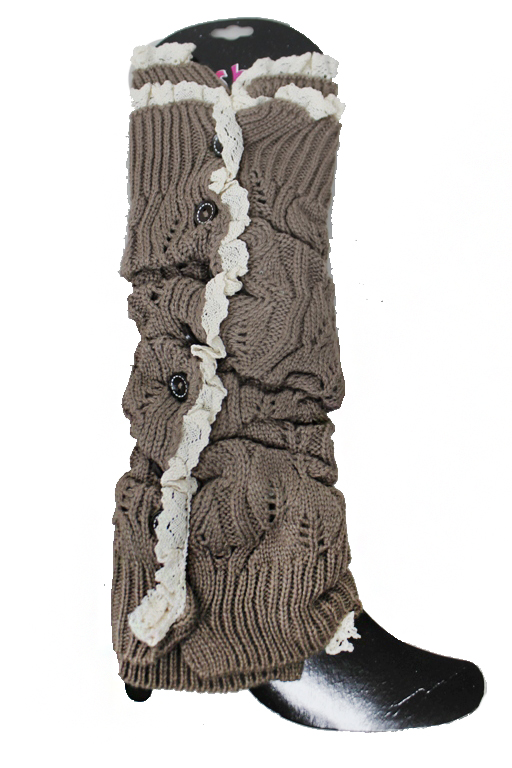 Lace Hem With Luxury black Decor button Down Leg Warmers
